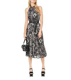 Michael Kors Fl Foil Pattern Halter Midi Dress