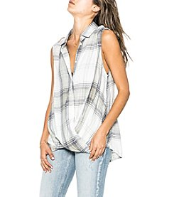 Silver Jeans Co. Plaid Pattern Wrap Front Button Down Top