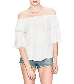 Silver Jeans Co. Off The Shoulder Lace Inset Detail Top