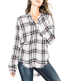 Silver Jeans Co. Plaid Pattern Frayed High Low Button Down Top
