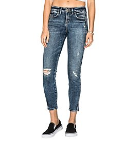 Silver Jeans Co. Avery Skinny Cropped Distressed Detail Jeans
