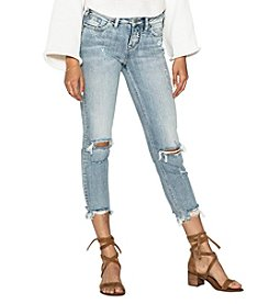 Silver Jeans Co. Aiko Frayed Hem Destructed Detail Skinny Cropped Jeans