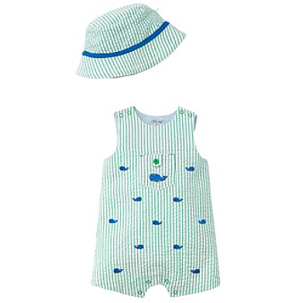 71345b72be7 Little Me Baby Boys  3M-12M Whales Sunsuit With Hat