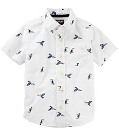 OshKosh B'Gosh Boys' 2T-8 Short Sleeve Toucan Button Front Shirt