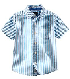 OshKosh B'Gosh Boys' 2T-8 Short Sleeve Striped Button Front Shirt