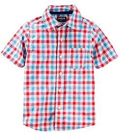 OshKosh B'Gosh Boys' 4-8 Short Sleeve Plaid Button-Front Shirt