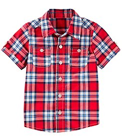 OshKosh B'Gosh Boys' 2T-4T Short Sleeve Woven Plaid Button-Front Shirt