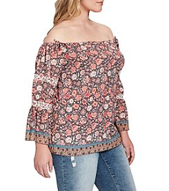 Jessica Simpson Plus Size Neeru Off Shoulder Floral Peasant Blouse
