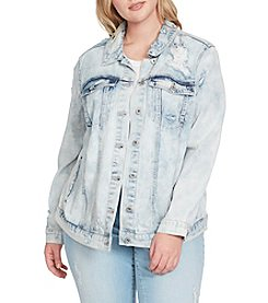 Jessica Simpson Plus Size Reagan Embroidered Denim Jacket