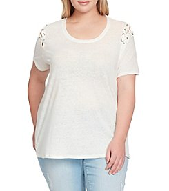 Jessica Simpson Plus Size Cassidie Grommet Lace Up Tee