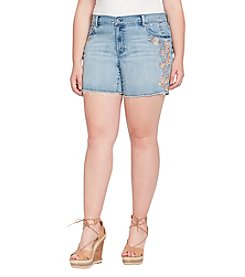 Jessica Simpson Plus Size Mika Midi Embroidered Shorts