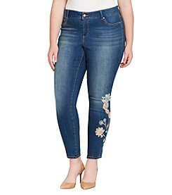Jessica Simpson Plus Size Skinny Floral Embroidery Detail Jeans