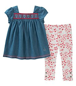 Calvin Klein Girls' 4-6X 2-Pc. Denim Heart Top and Leggings Set