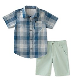 Calvin Klein Boys' 2T-7 2-Pc. Woven Shirt And Shorts Set