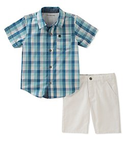 Calvin Klein Boys' 4-7 Woven Shirt and Shorts Set