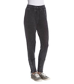 Hippie Laundry Acid Wash Lace Up Detail Cuff Sweat Pants