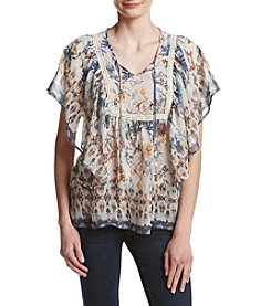 Oneworld Floral Peasant Woven Top