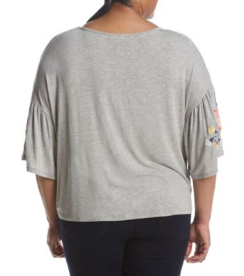 dc4536644 Skylar & Jade by Taylor & Sage Plus Size Embroidered Flare Sleeve Tee