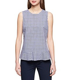 Tommy Hilfiger Gingham Pattern Ruffle Hem Top