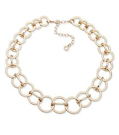 Anne Klein Goldtone Circle Link Collar Necklace