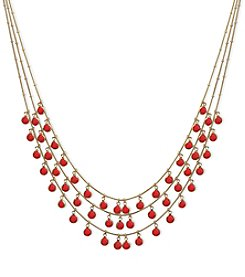 Anne Klein Goldtone Red Stone Three Row Shaky Necklace