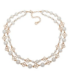 Anne Klein Goldtone Two Row Pearl Collar Necklace