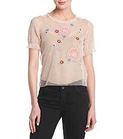Hippie Laundry Embroidered Mesh Top