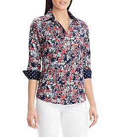 Chaps Floral Pattern Button Down Top