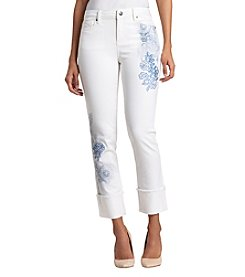 Black Daisy Frayed Hem Cuff Floral Embroidery Detail White Denim Jeans
