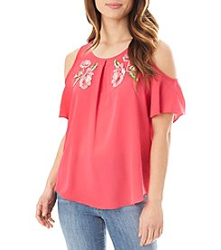 A. Byer Cold Shoulder Cutout Floral Embroidery Detail Top