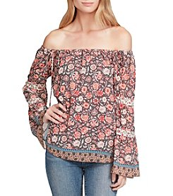 Jessica Simpson Off The Shoulder Floral Pattern Peasant Top