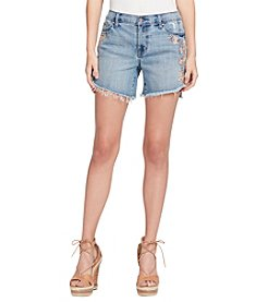 Jessica Simpson Floral Embroidery Detail Frayed Hem Cuff Shorts