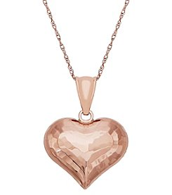 14K Rose Gold Puff Double Side Heart Necklace