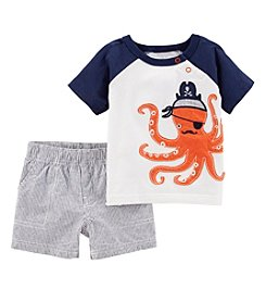 Carter's Boys' Newborn-24M 2 Piece Octopus Tee with Striped Shorts