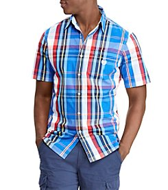 Chaps Men's Non Stretch Woven Short Sleeve Button Down