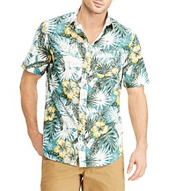 Chaps Men's Short Sleeve Printed Woven Button Down