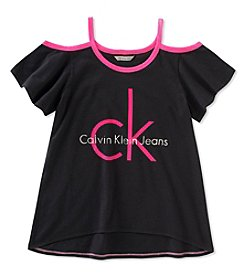 Calvin Klein Girls' 7-16 CK Logo Cold Shoulder Tee