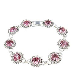 BT-Jeweled Silvertone Light Rose Single Row Chain Bracelet