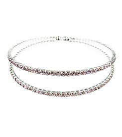 BT-Jeweled Silvertone Light Rose Double Row Cuff Bracelet