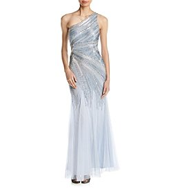 Adrianna Papell Beaded Mermaid Gown Dress