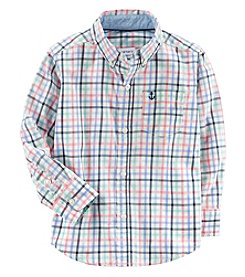 Carter's Boys' 2T-8 Long Sleeve Plaid Button Up Top