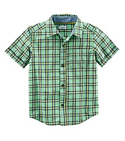 Carter's Boys' 2T-8 Short Sleeve Woven Plaid Button Up Top