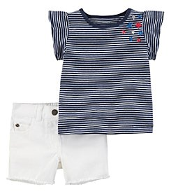 Carter's Baby Girls' 2-Pc. Patriotic Top And Denim Short Set
