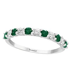 Effy 14K White Gold 0.29 Ct. T.w. Diamond And Emerald Ring