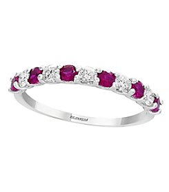 Effy 14K White Gold 0.29 Ct. T.w. Diamond And Ruby Ring