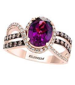 Effy 14K Rose Gold 0.43 Ct. T.w. Diamond And Rhodalite Garnet Ring