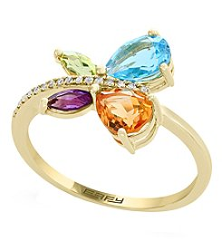 Effy 14K Yellow Gold 0.05 Ct. T.w. Diamond And Semi-Precious Mix Ring