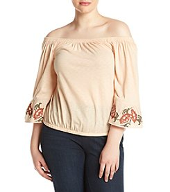 Jessica Simpson Plus Size Floral Embroidery Detail Bell Sleeve Top