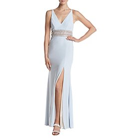 Xscape Deep V Beaded Waist Dress