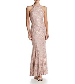 NW Collections Sequin Lace Keyhole Dress